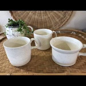 3 Mismatched Vintage Speckled Mugs